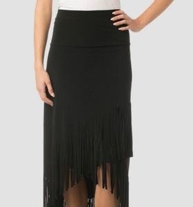 Joseph Ribkoff S4 fringe black suede skirt